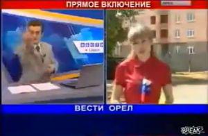 金髪美女に中指を立てたロシア国営放送キャスター