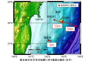 地震で宮城県沖の海底が24メートル動いた