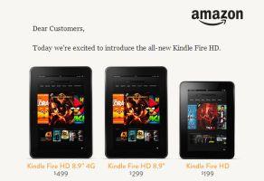 Amazonが「キンドルファイアHD」発表