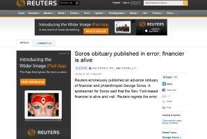 「ジョージ・ソロス死去」ロイターが誤配信